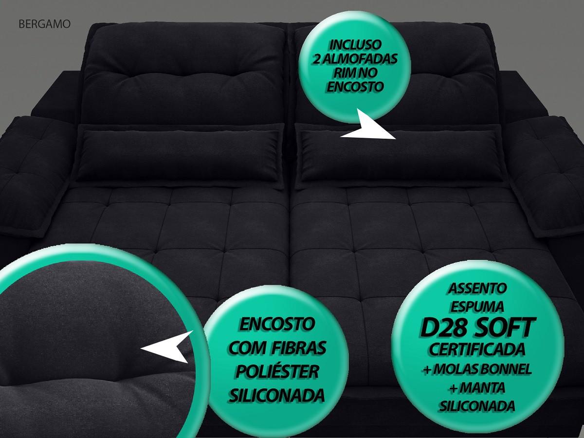 Sofá Bergamo 2,50m Assento Retrátil e Reclinável Velosuede Preto - NETSOFAS