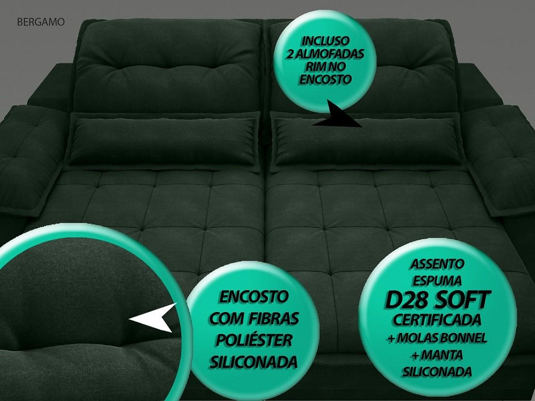 Sofá Bergamo 2,50m Assento Retrátil e Reclinável Velosuede Verde - NETSOFAS