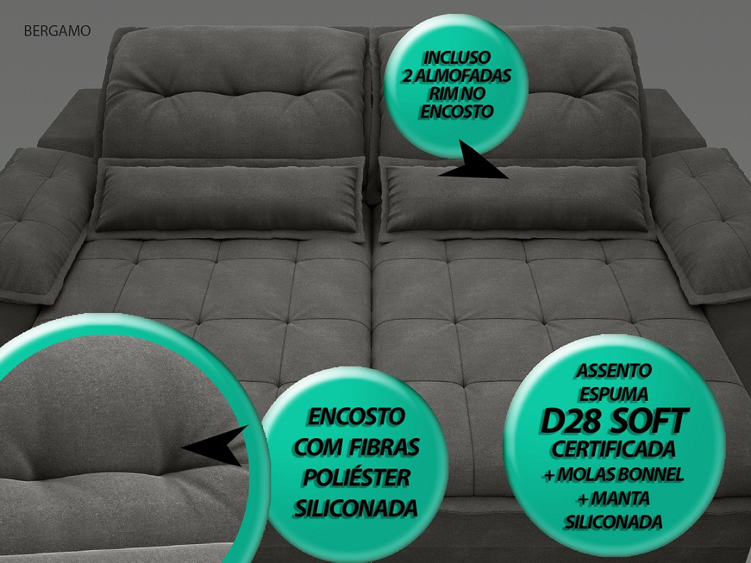 Sofá Bergamo 2,90m Assento Retrátil e Reclinável Velosuede Cinza - NETSOFAS