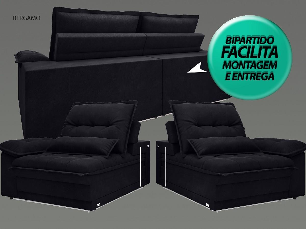 Sofá Bergamo 2,90m Assento Retrátil e Reclinável Velosuede Preto - NETSOFAS