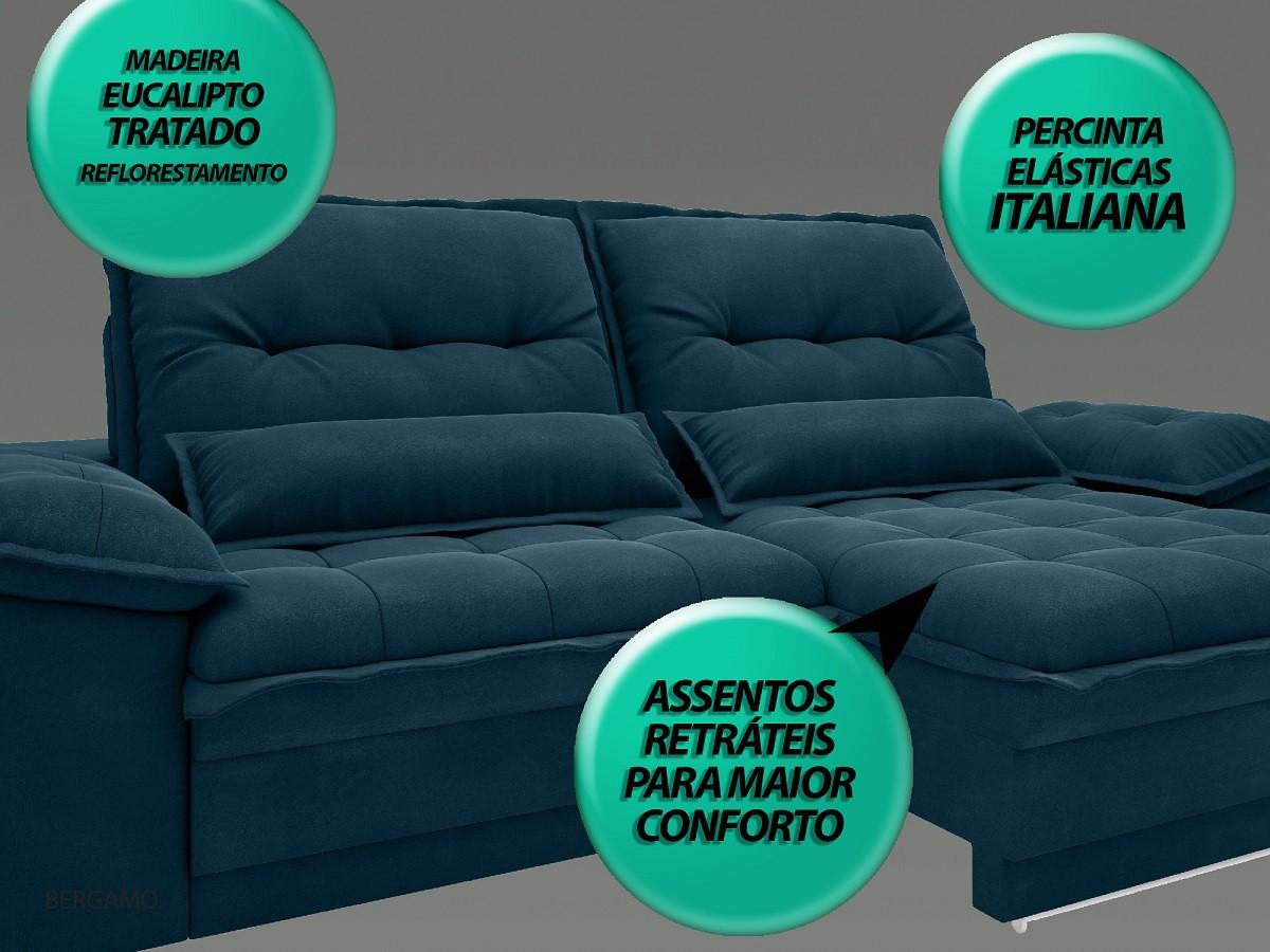 Sofá Bergamo 2,90m Assento Retrátil e Reclinável Velosuede Royal - NETSOFAS  - NETSOFÁS