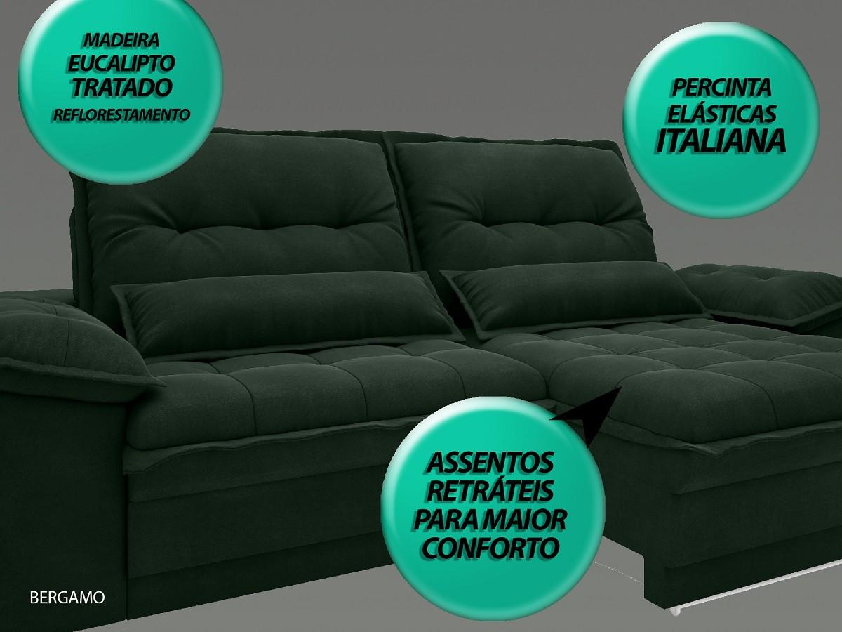 Sofá Bergamo 2,90m Assento Retrátil e Reclinável Velosuede Verde - NETSOFAS