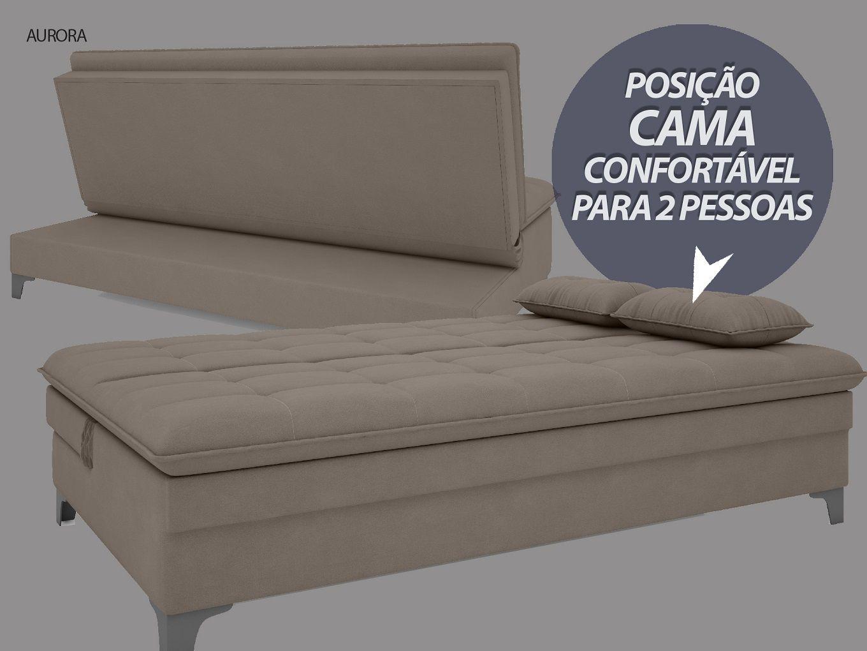 Sofá-Cama Casal Aurora 1,87m Velosuede Bege - NETSOFAS