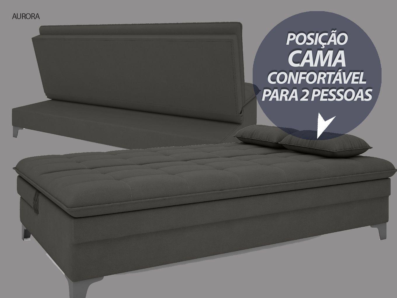 Sofá-Cama Casal Aurora 1,87m Velosuede Cinza - NETSOFAS