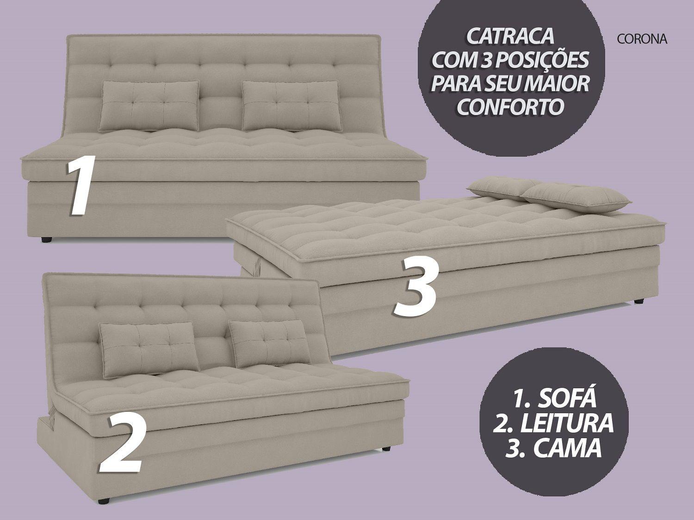 Sofá-Cama Casal Corona 1,87m Velosuede Areia - NETSOFAS