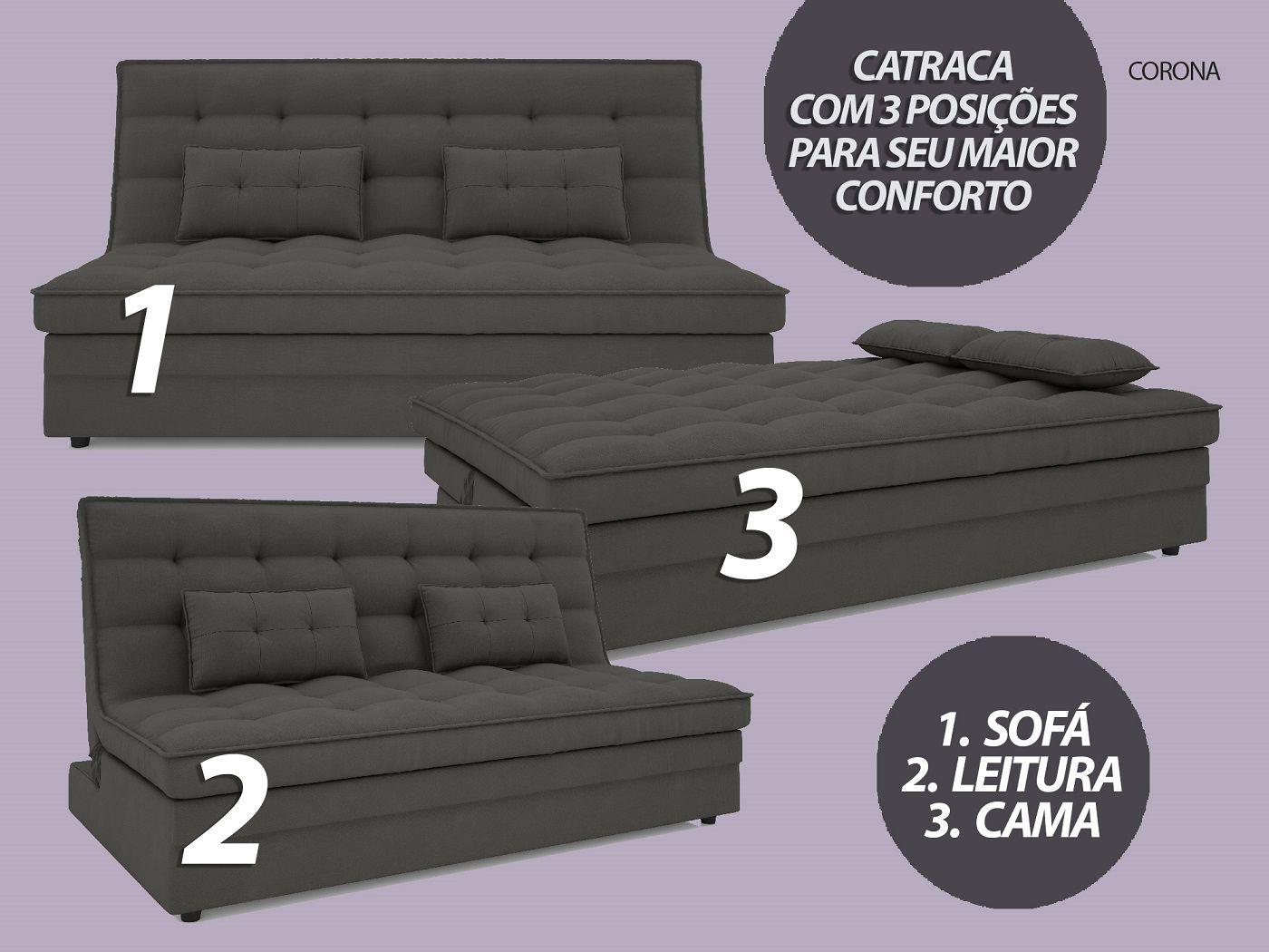 Sofá-Cama Casal Corona 1,87m Velosuede Cinza - NETSOFAS