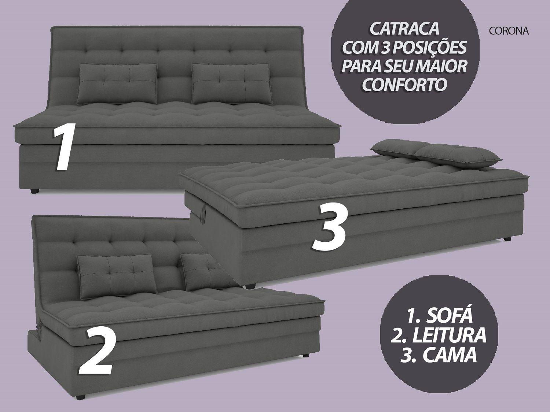 Sofá-Cama Casal Corona 1,87m Velosuede Grafite - NETSOFAS