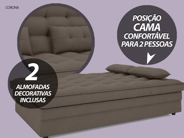Sofá-Cama Casal Corona 1,87m Velosuede Marrom - NETSOFAS  - NETSOFÁS