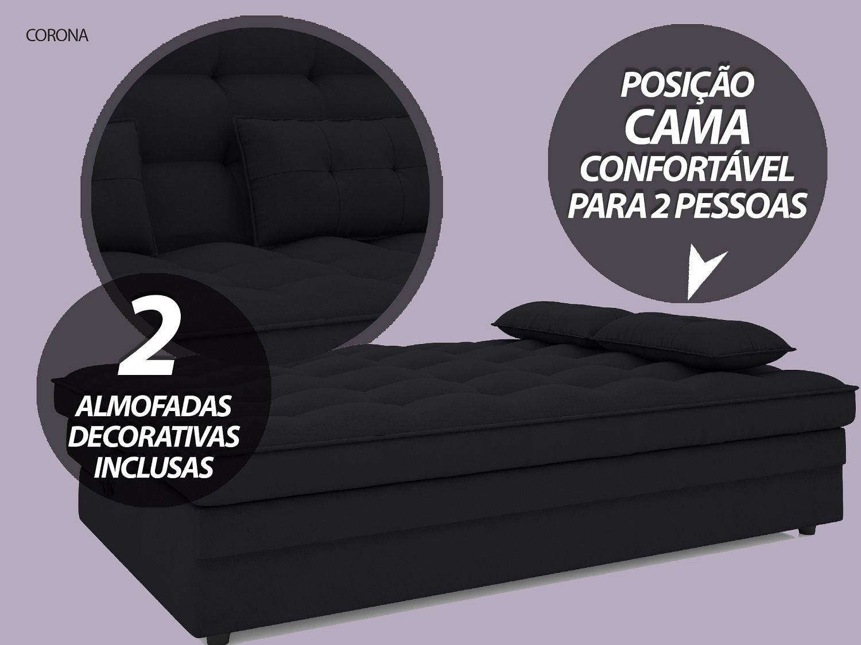 Sofá-Cama Casal Corona 1,87m Velosuede Preto - NETSOFAS  - NETSOFÁS