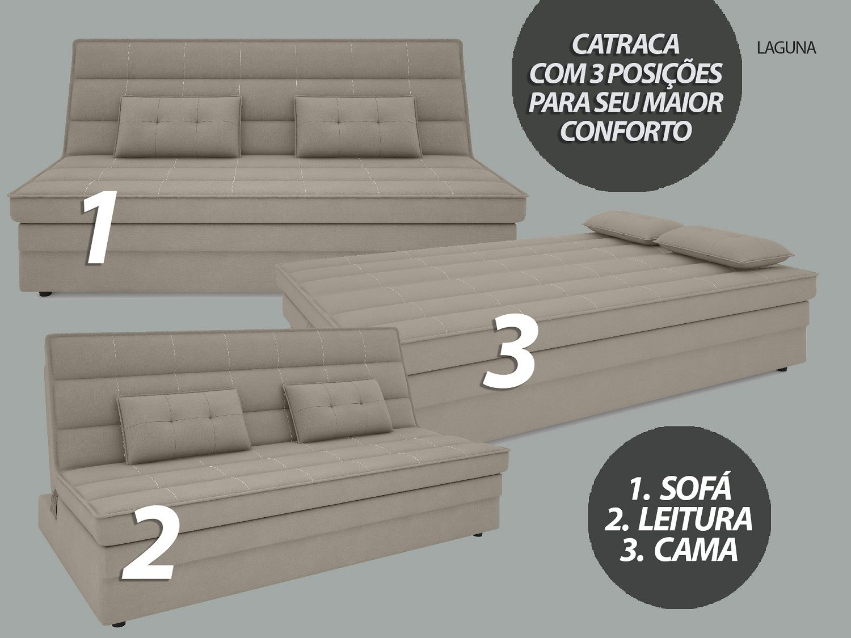 Sofá-Cama Casal Laguna 1,87m Velosuede Areia - NETSOFAS