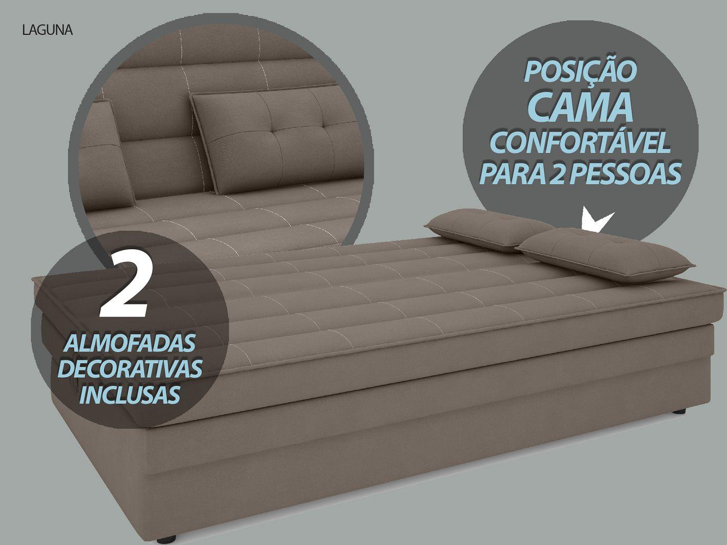 Sofá-Cama Casal Laguna 1,87m Velosuede Bege - NETSOFAS  - NETSOFÁS
