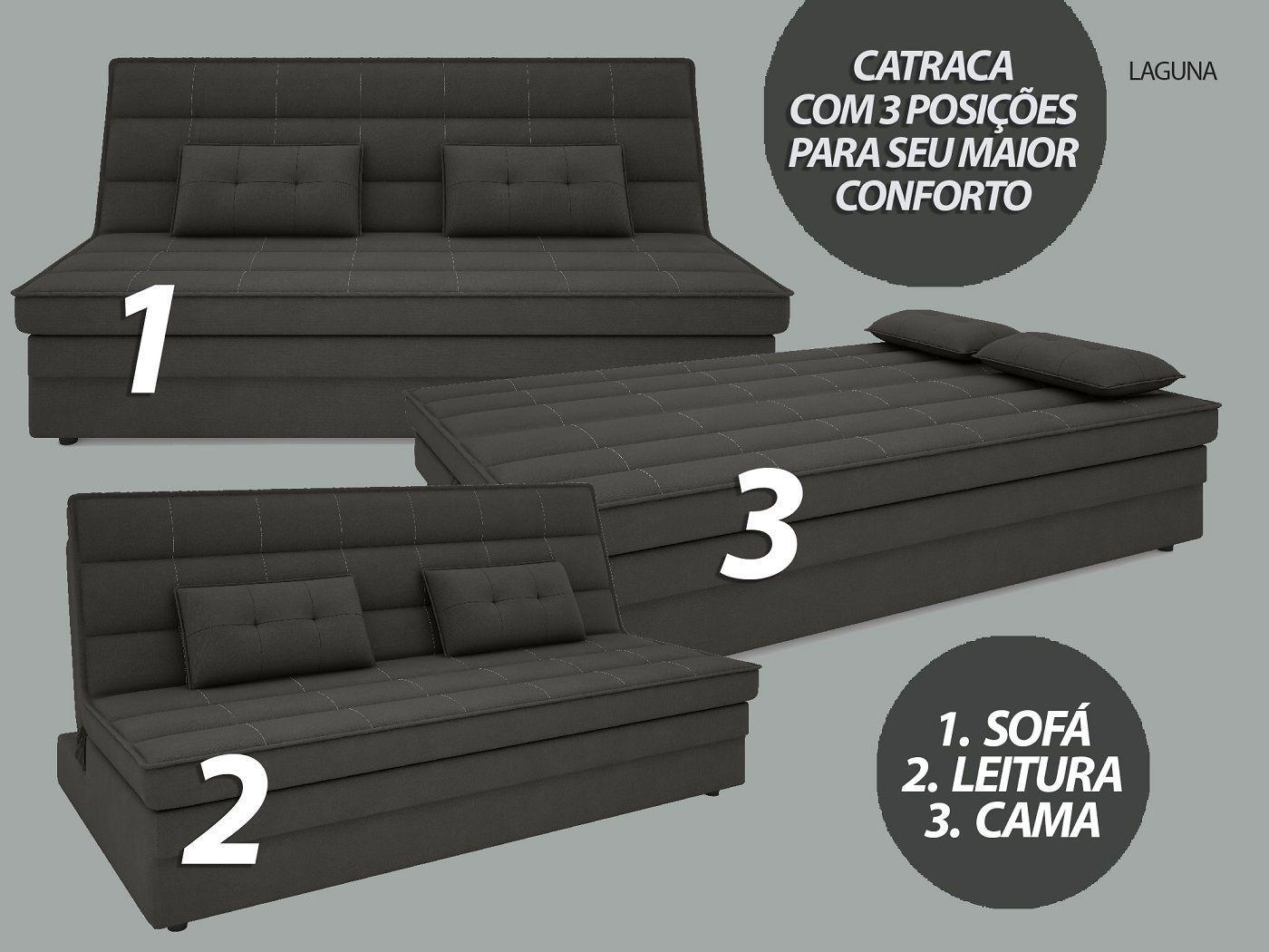 Sofá-Cama Casal Laguna 1,87m Velosuede Cinza - NETSOFAS  - NETSOFÁS