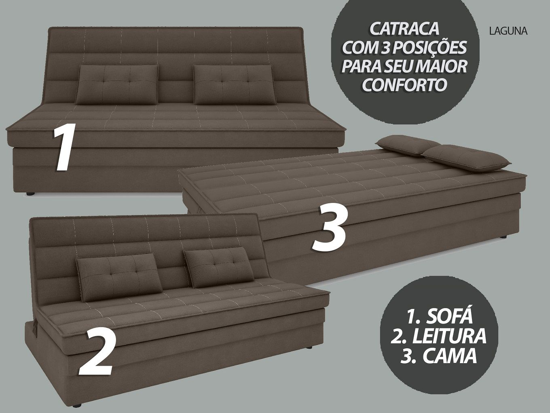 Sofá-Cama Casal Laguna 1,87m Velosuede Marrom - NETSOFAS