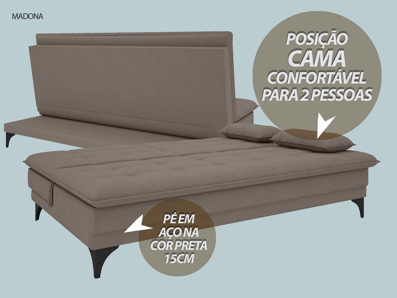 Sofá-Cama Casal Madona 1,87m Velosuede Bege - NETSOFAS  - NETSOFÁS