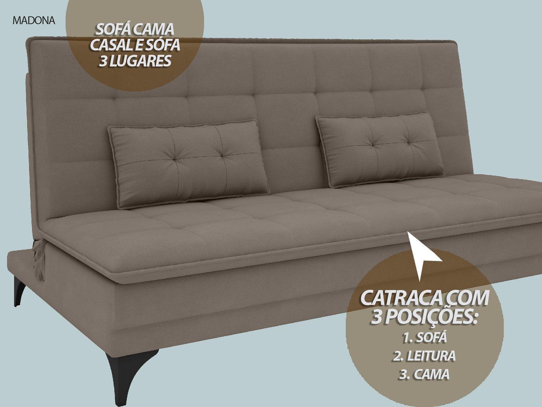 Sofá-Cama Casal Madona 1,87m Velosuede Bege - NETSOFAS