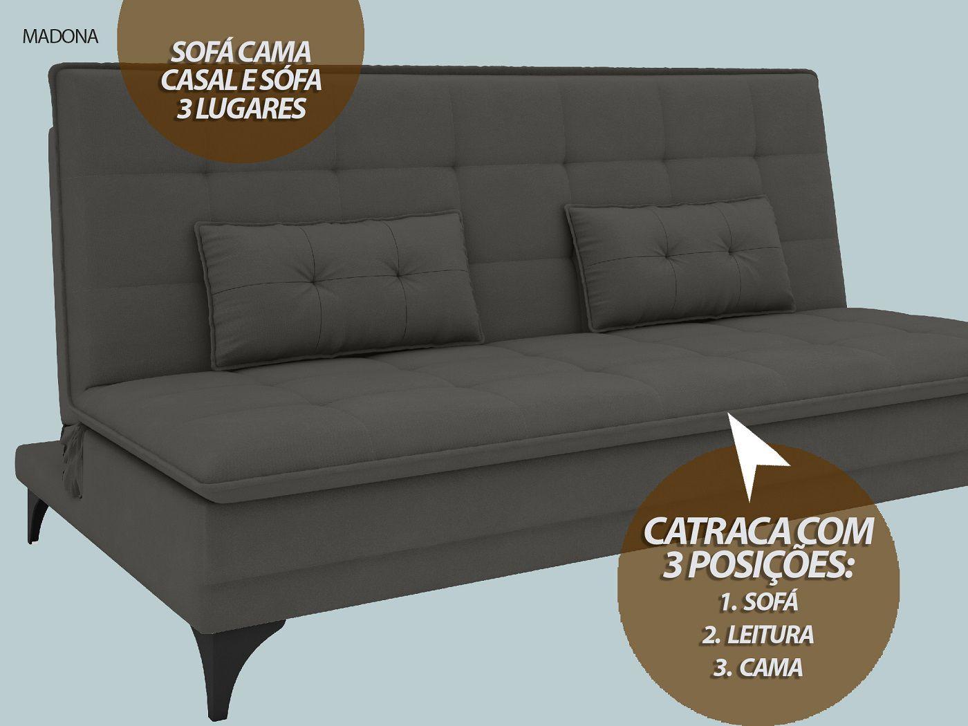 Sofá-Cama Casal Madona 1,87m Velosuede Cinza - NETSOFAS