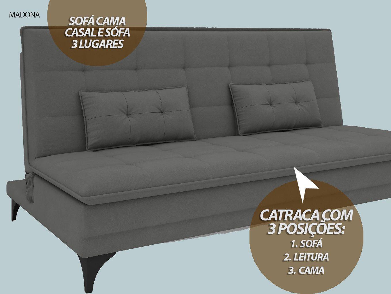 Sofá-Cama Casal Madona 1,87m Velosuede Grafite - NETSOFAS