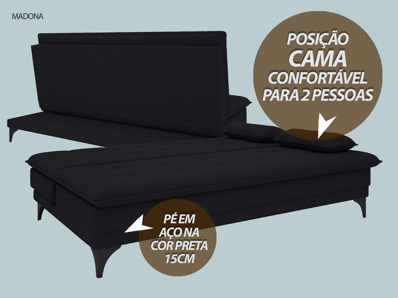 Sofá-Cama Casal Madona 1,87m Velosuede Preto - NETSOFAS