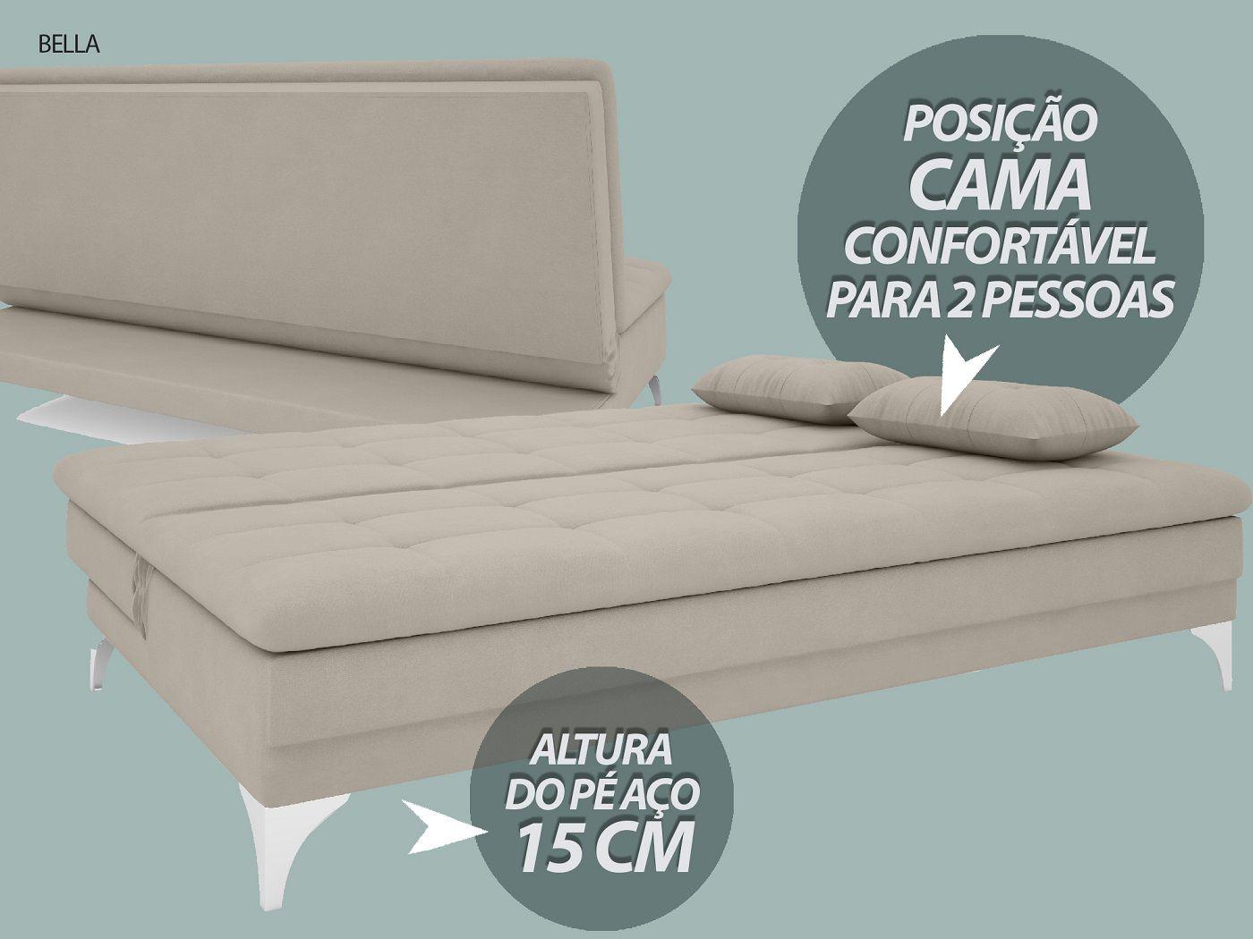 Sofá-Cama Casal New Bella 1,87m Velosuede Areia - NETSOFAS