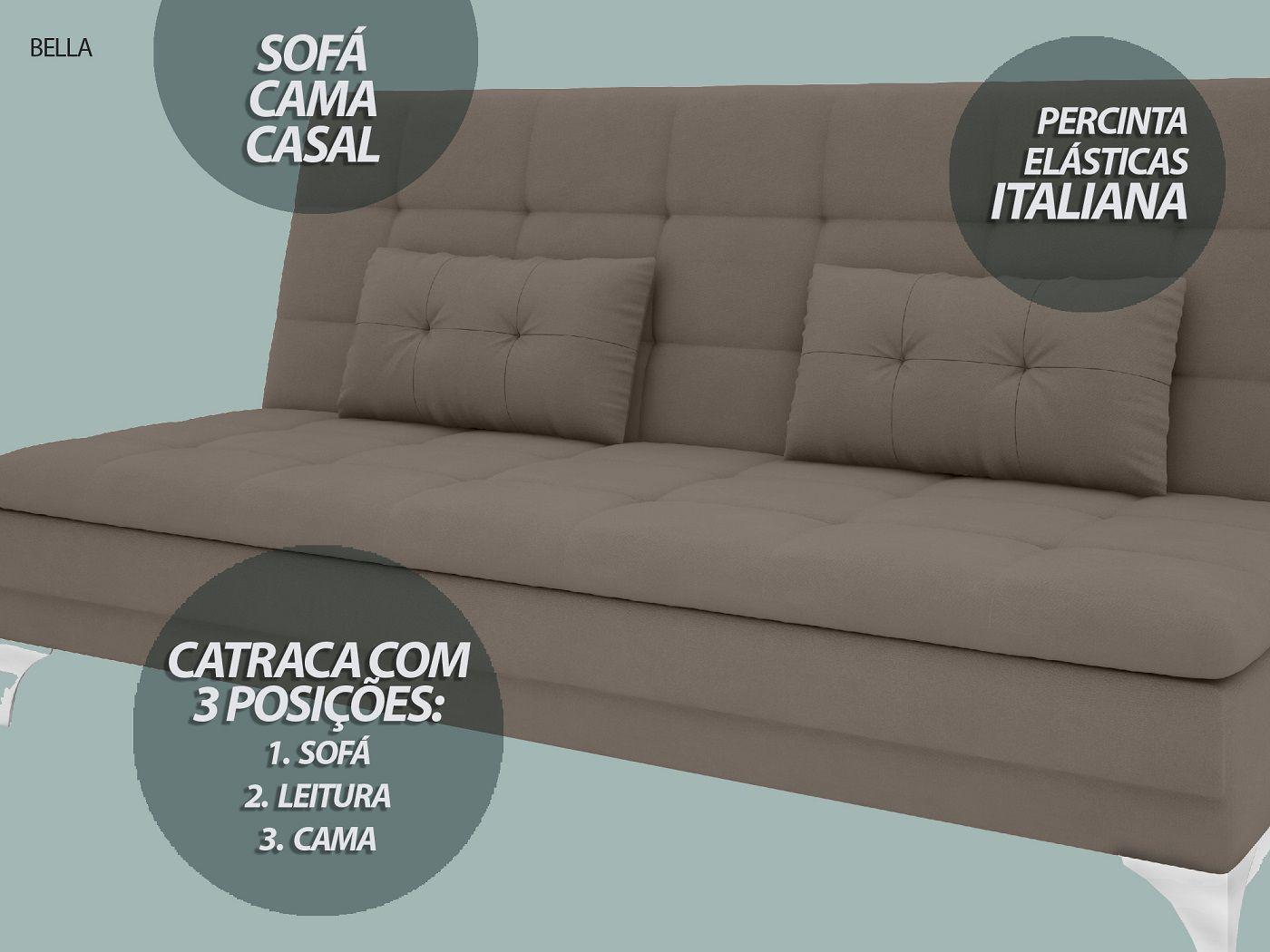 Sofá-Cama Casal New Bella 1,87m Velosuede Bege - NETSOFAS