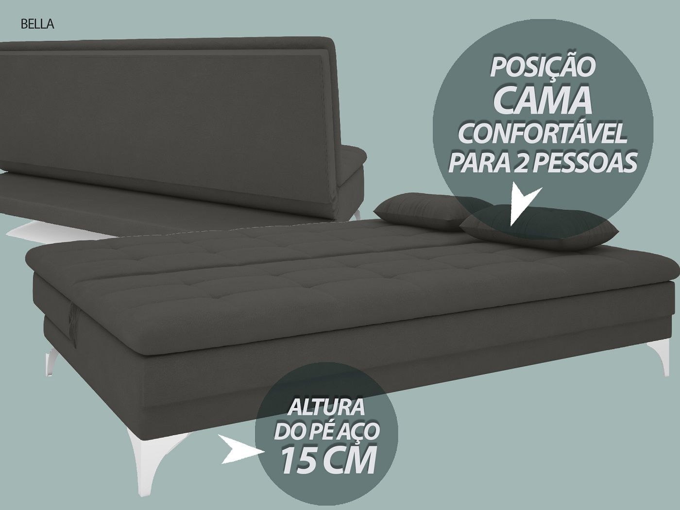 Sofá-Cama Casal New Bella 1,87m Velosuede Cinza - NETSOFAS  - NETSOFÁS