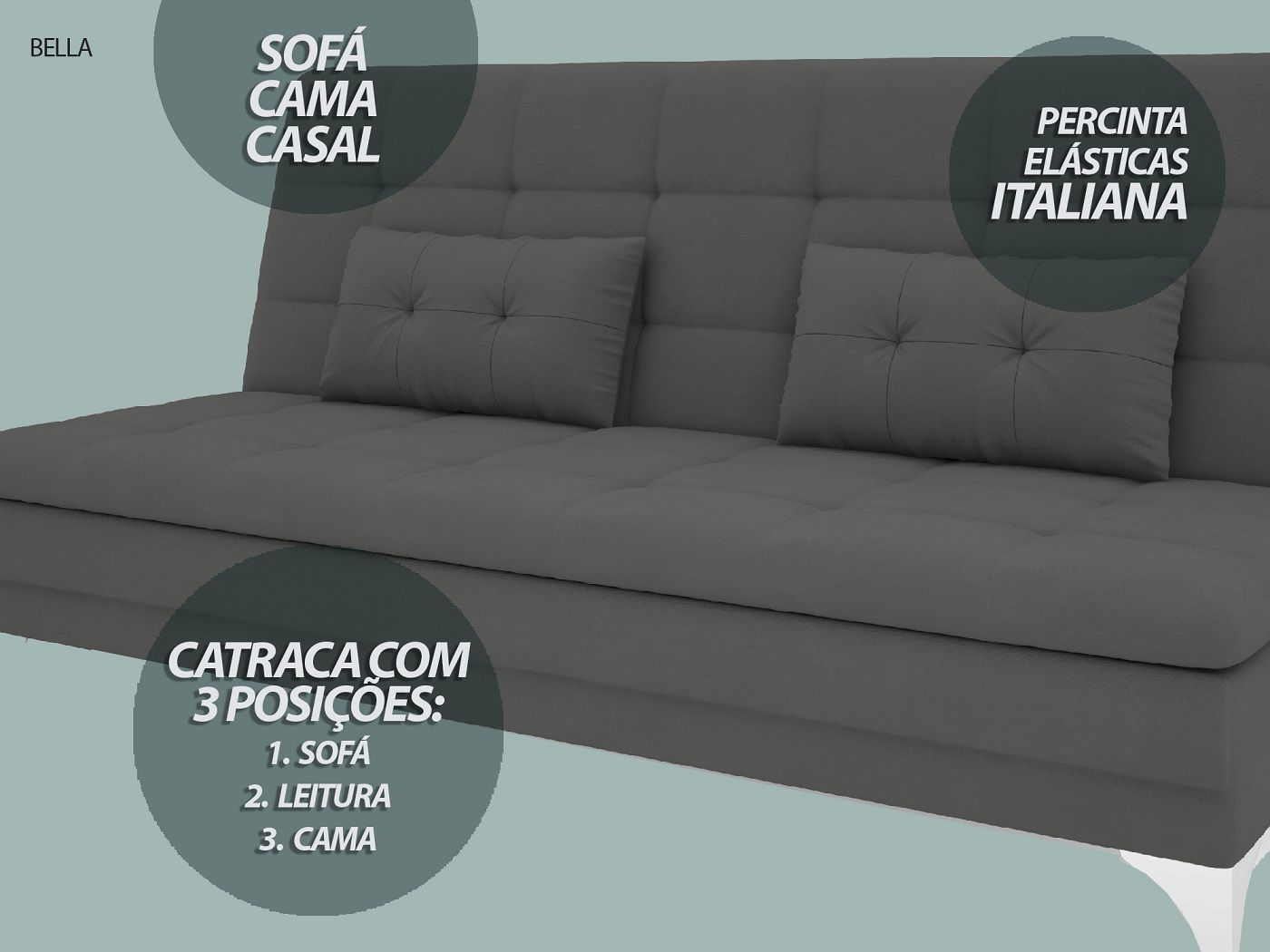 Sofá-Cama Casal New Bella 1,87m Velosuede Grafite - NETSOFAS