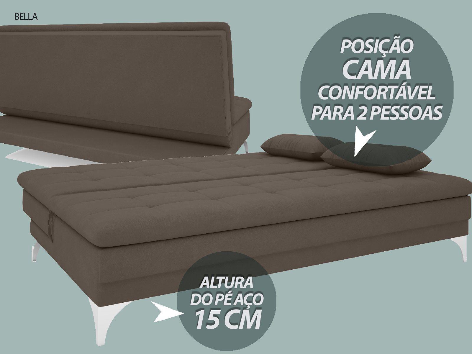 Sofá-Cama Casal New Bella 1,87m Velosuede Marrom - NETSOFAS
