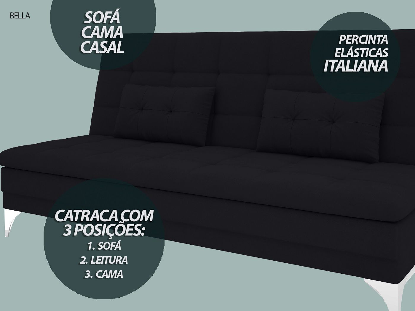 Sofá-Cama Casal New Bella 1,87m Velosuede Preto - NETSOFAS  - NETSOFÁS