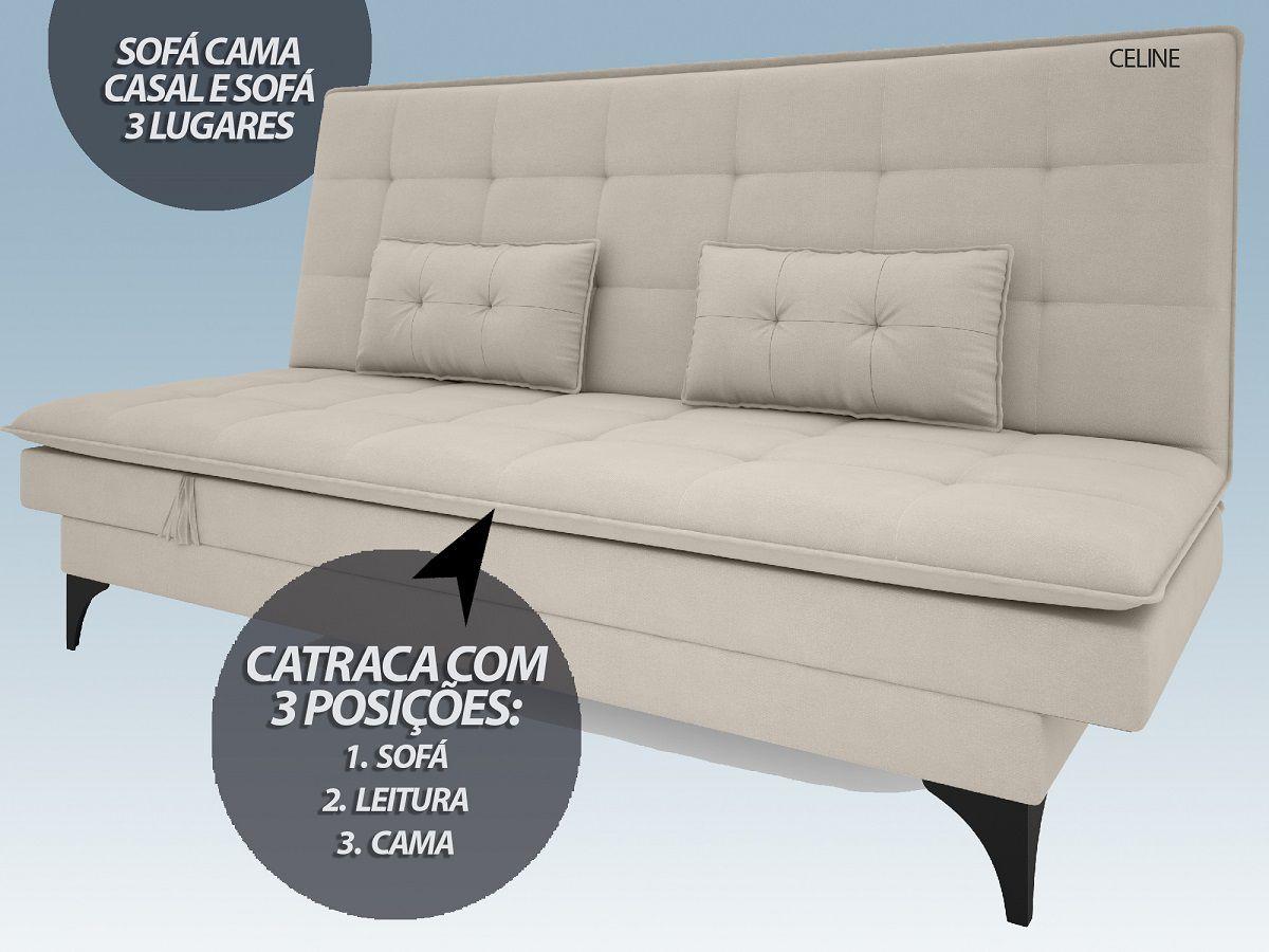 Sofá-Cama Casal New Celine 1,94m Velosuede Areia - NETSOFAS  - NETSOFÁS