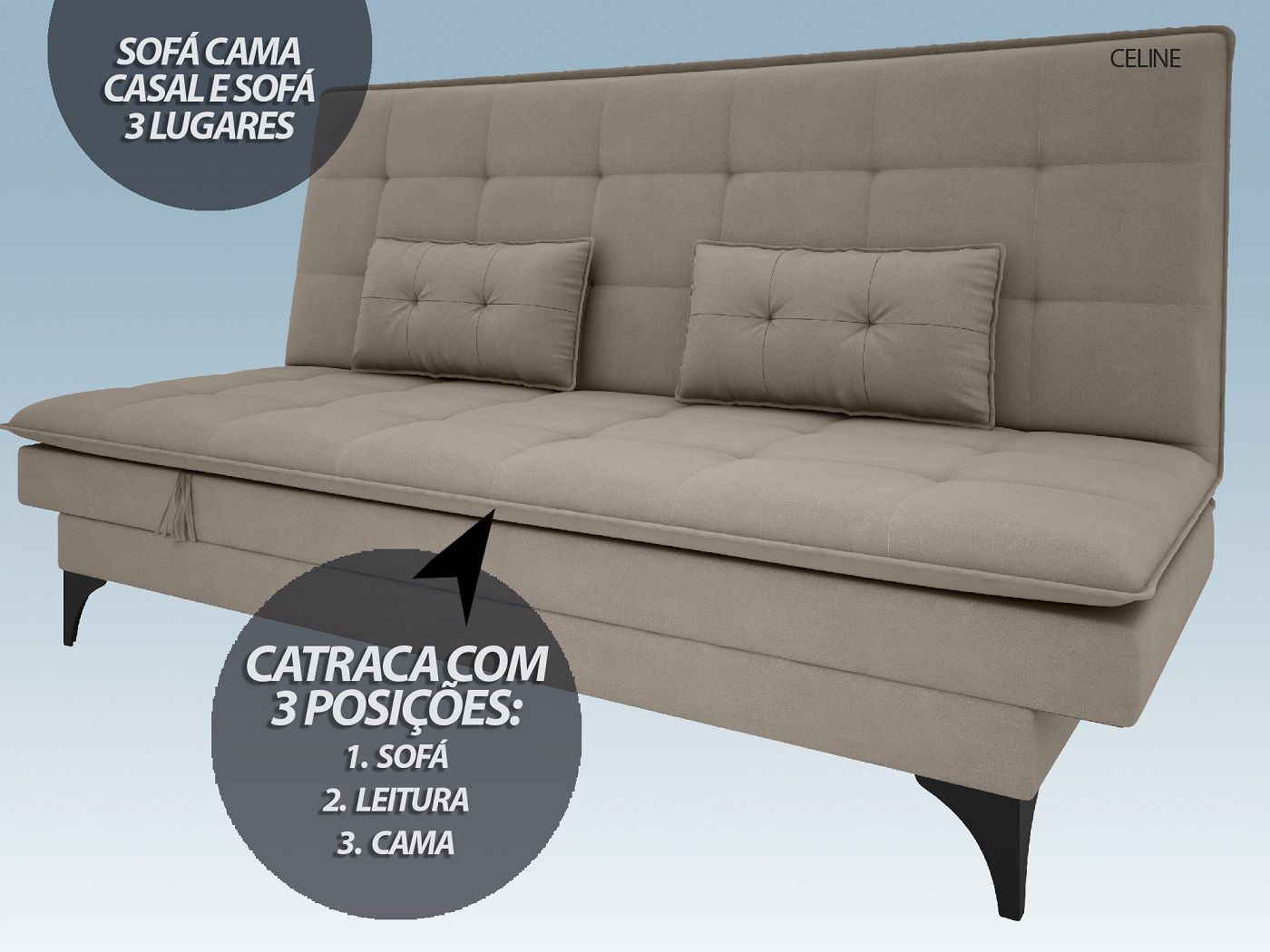 Sofá-Cama Casal New Celine 1,94m Velosuede Bege - NETSOFAS  - NETSOFÁS