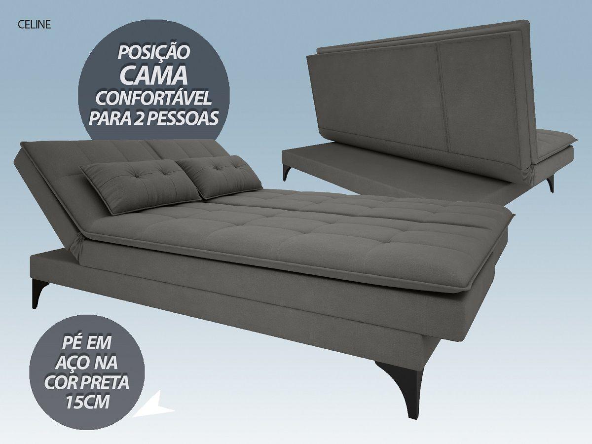 Sofá-Cama Casal New Celine 1,94m Velosuede Cinza - NETSOFAS  - NETSOFÁS
