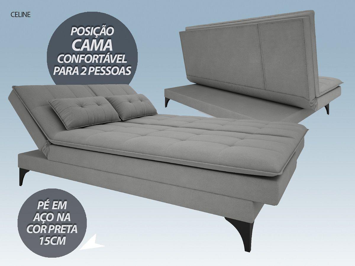 Sofá-Cama Casal New Celine 1,94m Velosuede Grafite - NETSOFAS