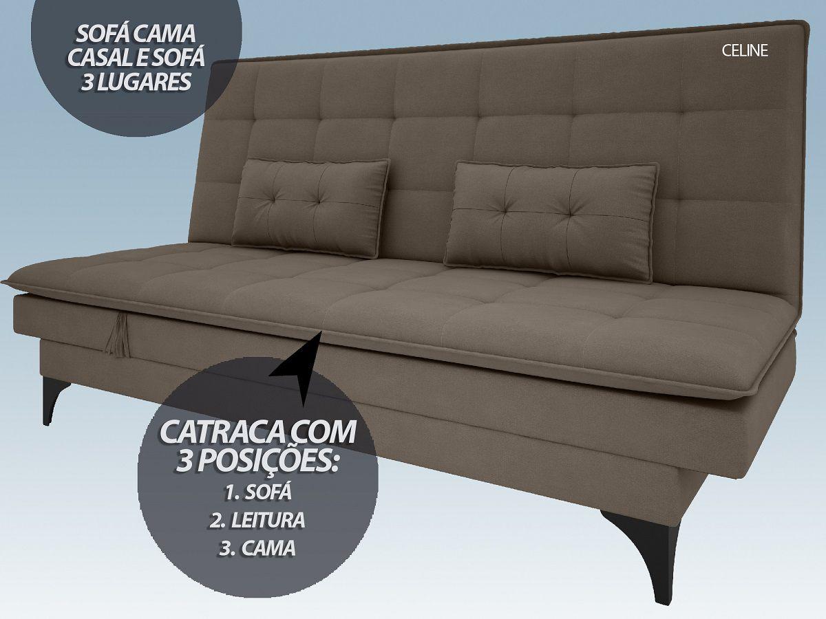 Sofá-Cama Casal New Celine 1,94m Velosuede Marrom - NETSOFAS  - NETSOFÁS