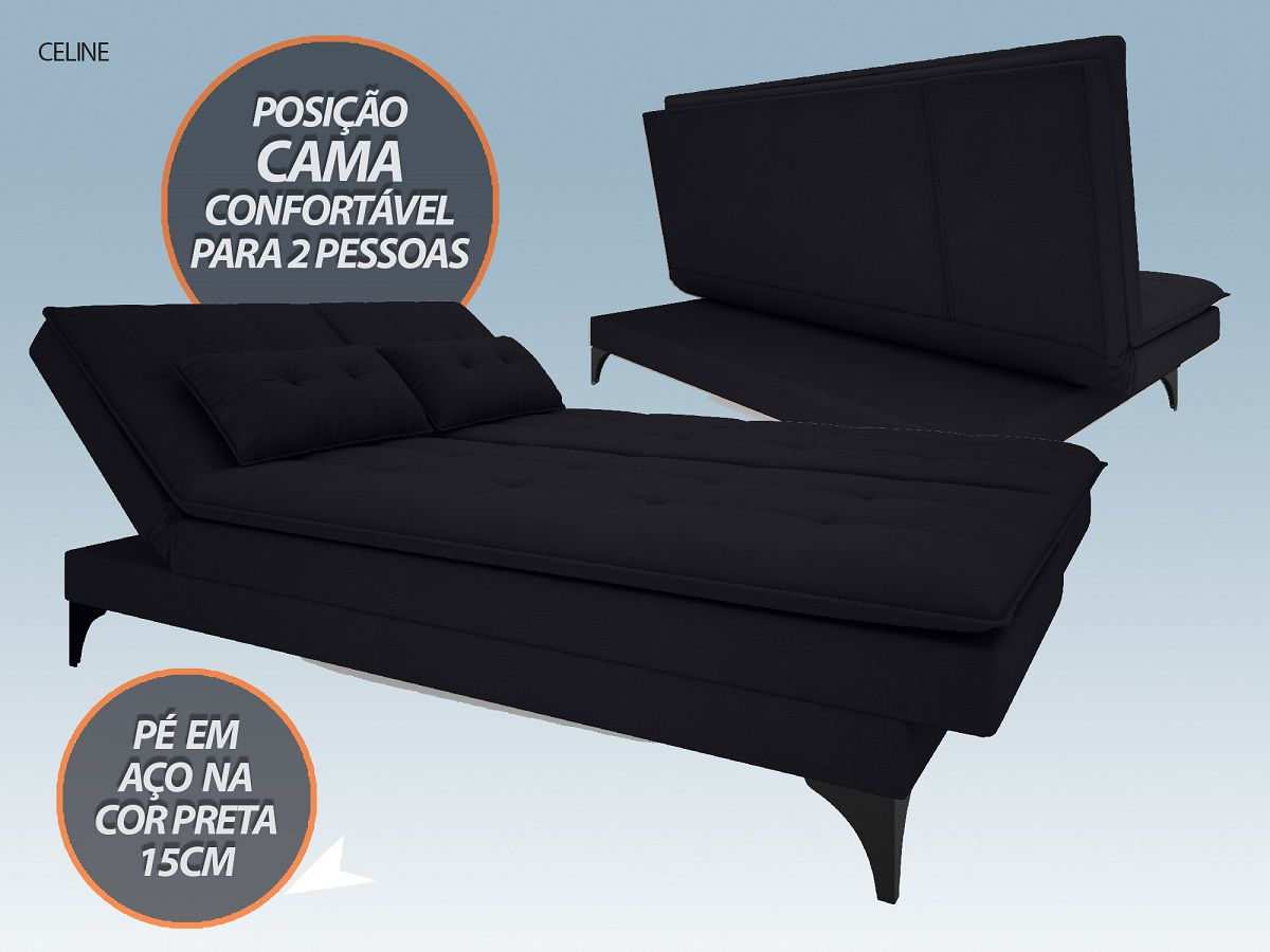 Sofá-Cama Casal New Celine 1,94m Velosuede Preto - NETSOFAS