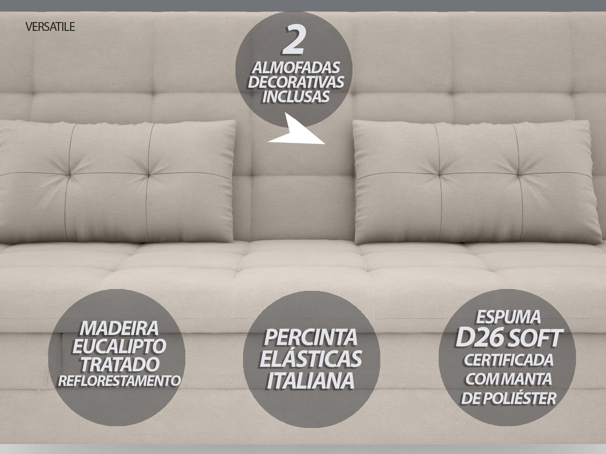 Sofá-Cama Casal New Versatile 1,94m Velosuede Areia - NETSOFAS