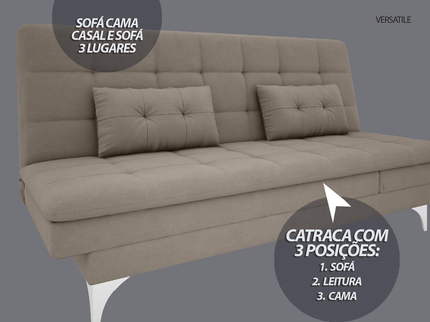 Sofá-Cama Casal New Versatile 1,94m Velosuede Bege - NETSOFAS  - NETSOFÁS