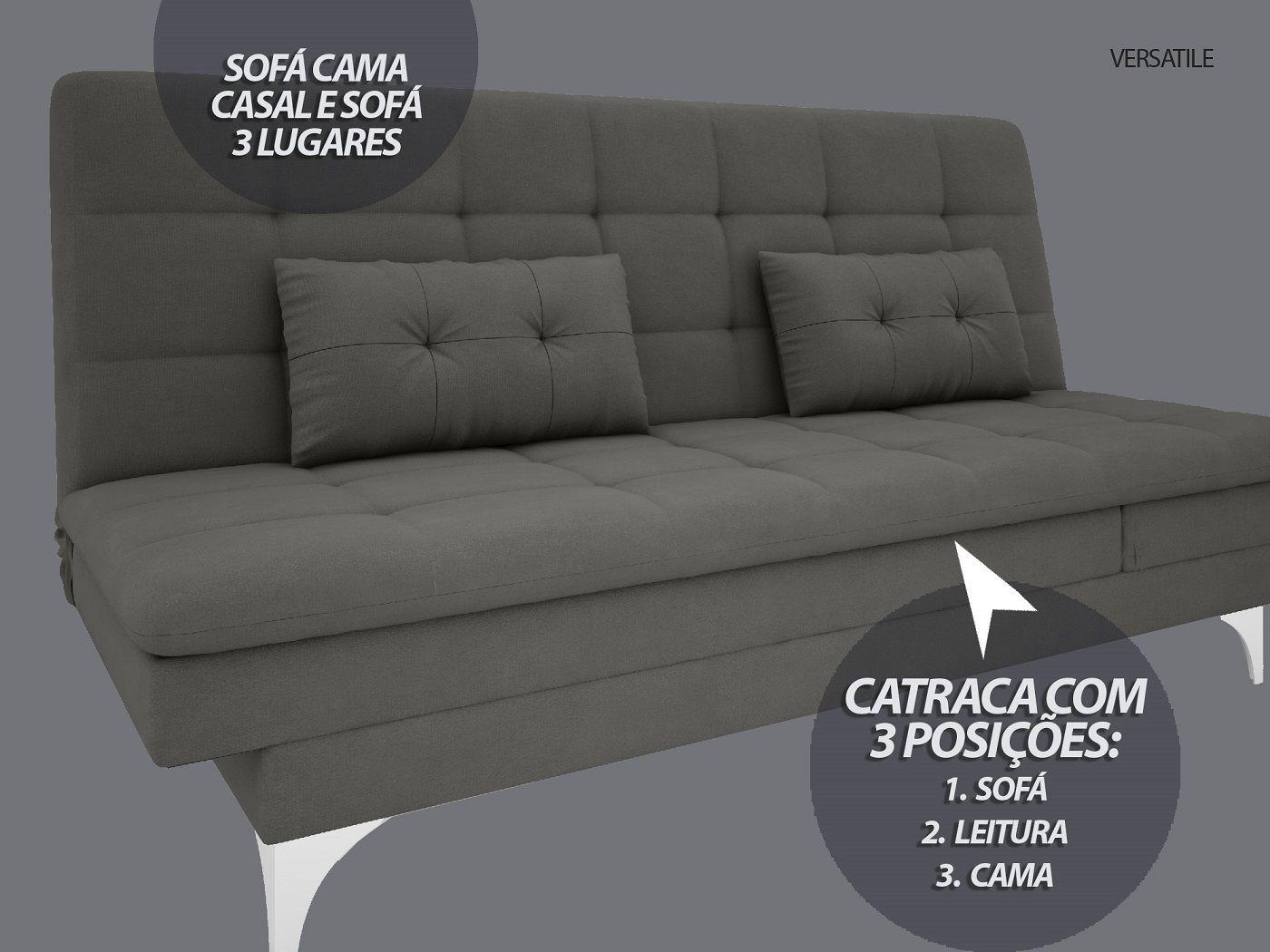 Sofá-Cama Casal New Versatile 1,94m Velosuede Cinza - NETSOFAS