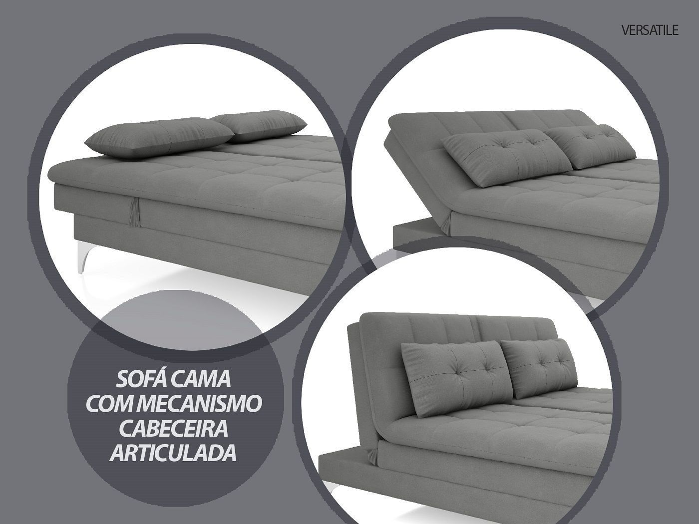 Sofá-Cama Casal New Versatile 1,94m Velosuede Grafite - NETSOFAS  - NETSOFÁS