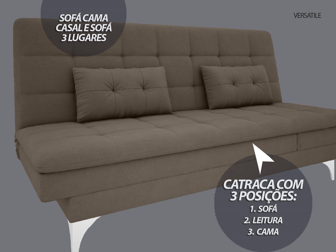 Sofá-Cama Casal New Versatile 1,94m Velosuede Marrom - NETSOFAS  - NETSOFÁS