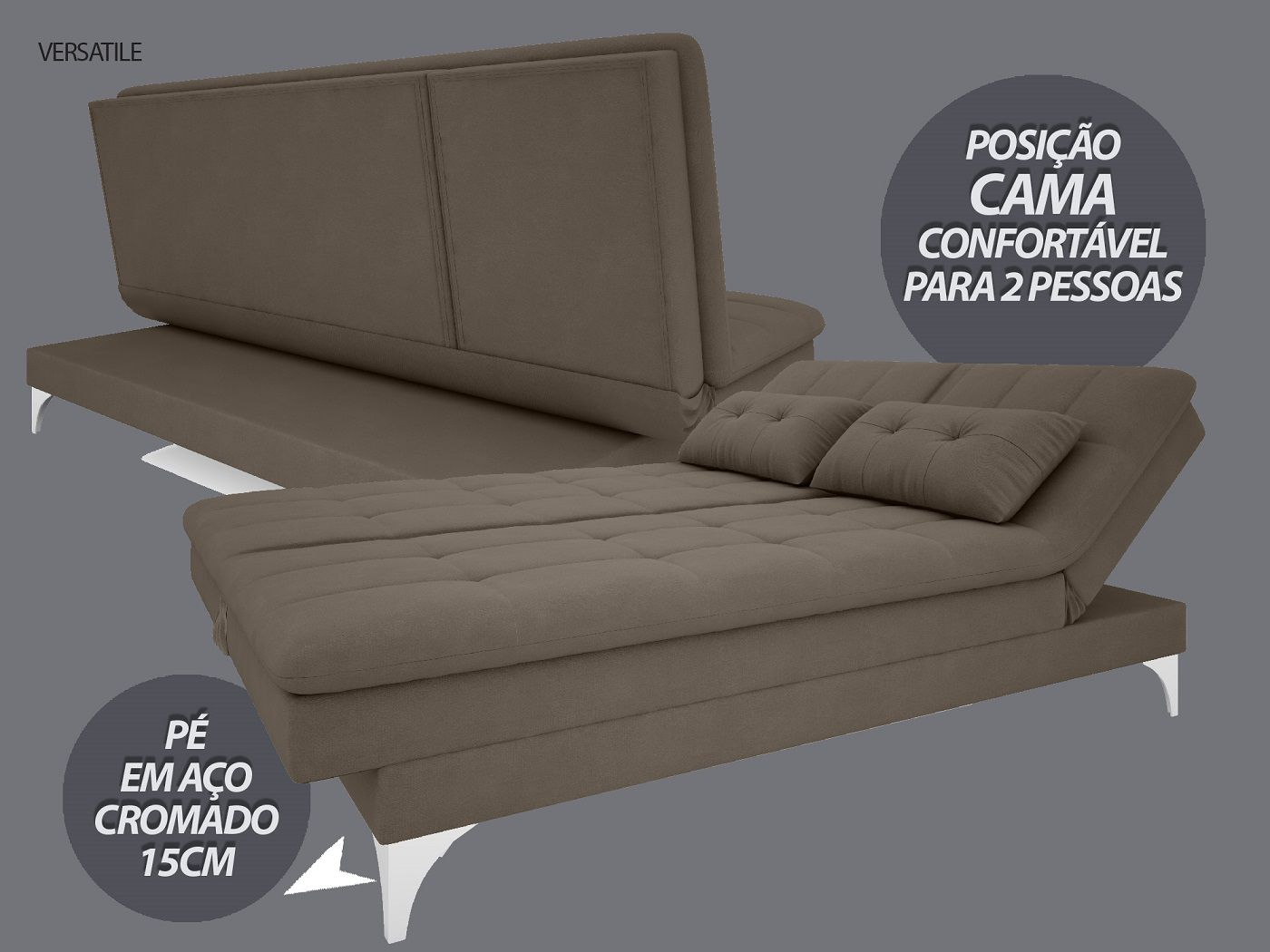 Sofá-Cama Casal New Versatile 1,94m Velosuede Marrom - NETSOFAS
