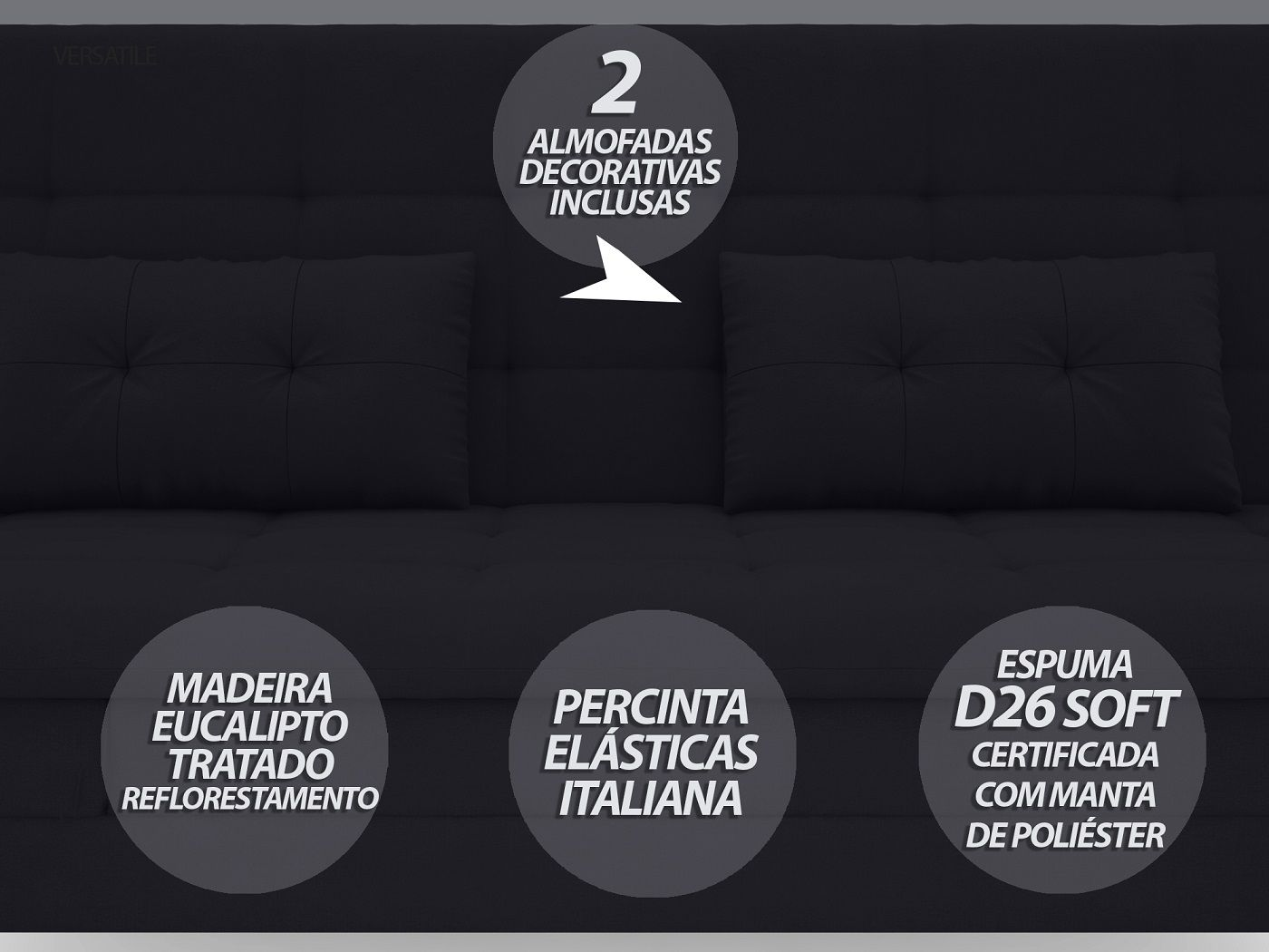 Sofá-Cama Casal New Versatile 1,94m Velosuede Preto - NETSOFAS  - NETSOFÁS