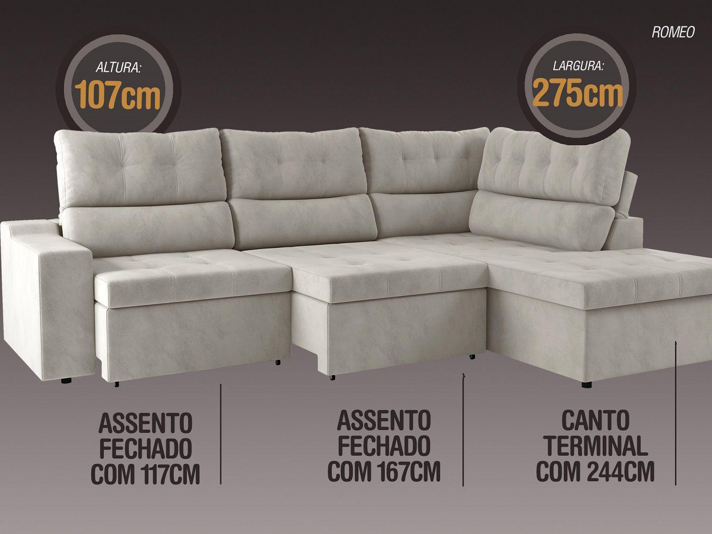 Sofá Canto 5 Lugares Net Romeo Assento Retrátil e Reclinável Areia 2,75m (L)  - NETSOFÁS