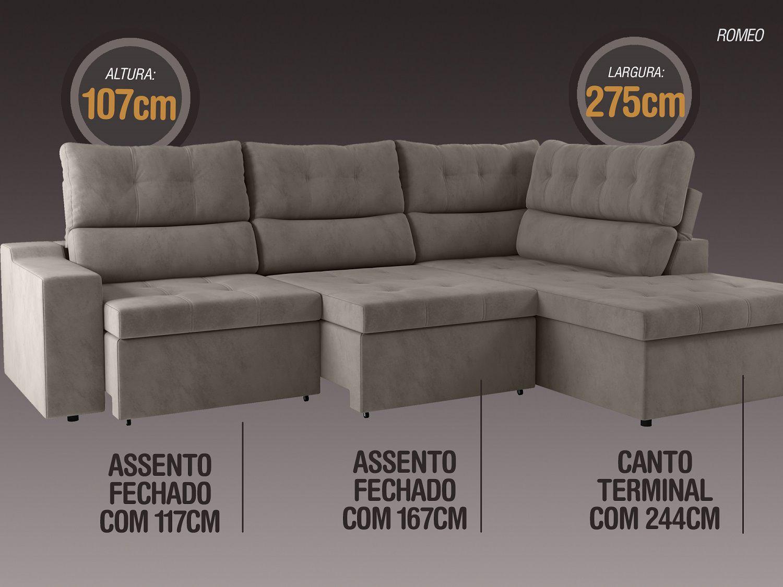 Sofá Canto 5 Lugares Net Romeo Assento Retrátil e Reclinável Bege 2,75m (L)  - NETSOFÁS