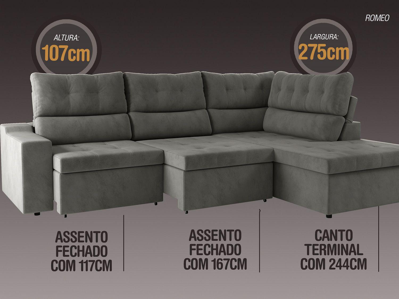 Sofá Canto 5 Lugares Net Romeo Assento Retrátil e Reclinável Cinza 2,75m (L)  - NETSOFÁS
