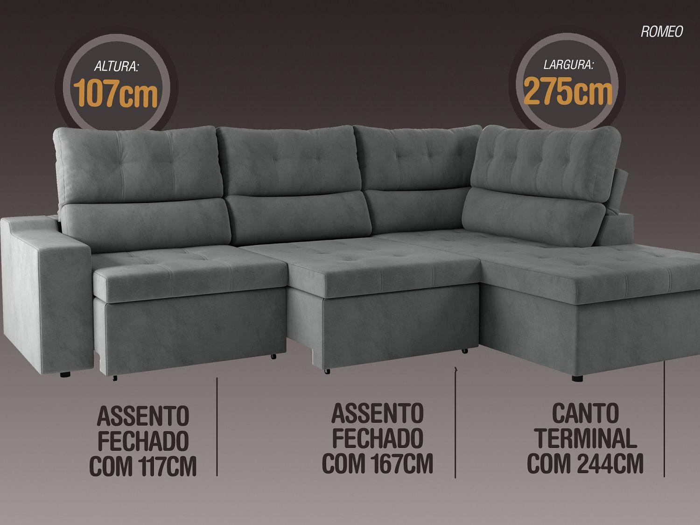 Sofá Canto 5 Lugares Net Romeo Assento Retrátil e Reclinável Grafite 2,75m (L)  - NETSOFÁS