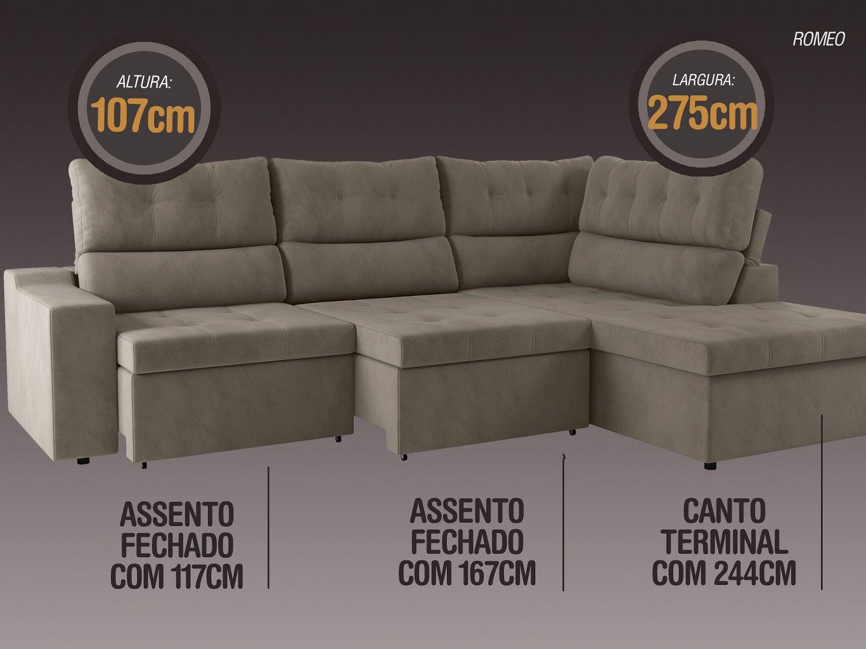 Sofá Canto 5 Lugares Net Romeo Assento Retrátil e Reclinável Marrom 2,75m (L)  - NETSOFÁS