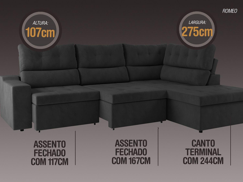 Sofá Canto 5 Lugares Net Romeo Assento Retrátil e Reclinável Preto 2,75m (L)  - NETSOFÁS
