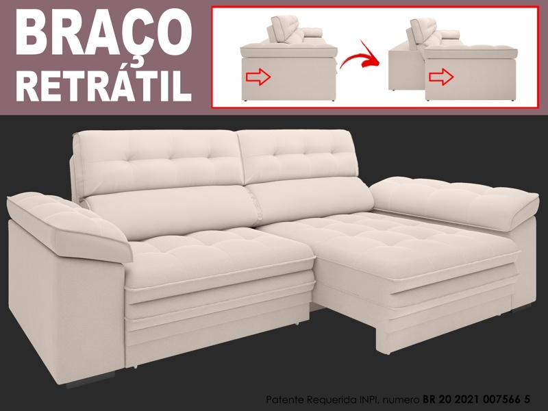 Sofá Capriccio 2,10m Assento com Braço Retrátil e Reclinável Velosuede - NETSOFAS