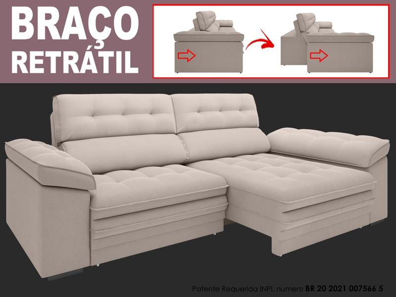 Sofá Capriccio 2,10m Assento com Braço Retrátil e Reclinável Velosuede - NETSOFAS  - NETSOFÁS