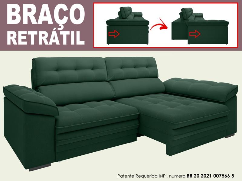 Sofá Capriccio 2,30m Assento com Braço Retrátil e Reclinável Velosuede - NETSOFAS  - NETSOFÁS